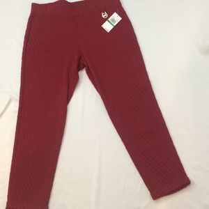 MIchael Kors NWT burgundy quilted pants, large